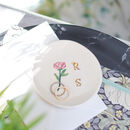 Personalised Initial Trinket Dish With Botanical Design