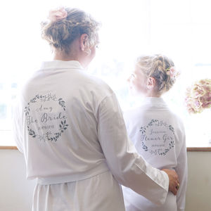 Personalised Botanical Wedding Dressing Gown - bathrobes & dressing gowns