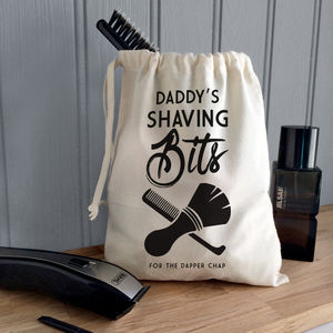 Men's Personalised 'Shaving Bits' Canvas Bag
