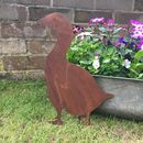 Rusted Metal Goose Silhouette Garden Ornament