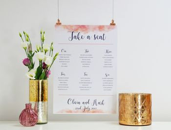 Pink Cloud Wedding Table Seating Plan