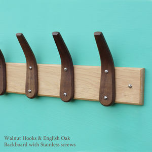 Curved Wooden Coat Hooks And Backboard - hooks, pegs & clips