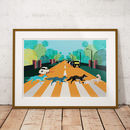 London Prints The Abbey Road Foxes Illustrated Artwork
