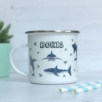 Personalised Shark Enamel Mug
