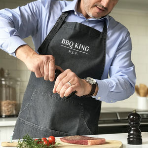 'Bbq King' Personalised Denim Apron - kitchen