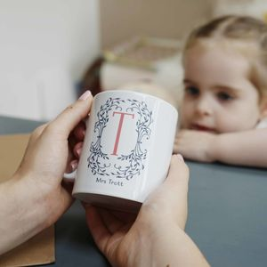 Personalised Botanical Monogram Teacher Mug - gifts for teachers