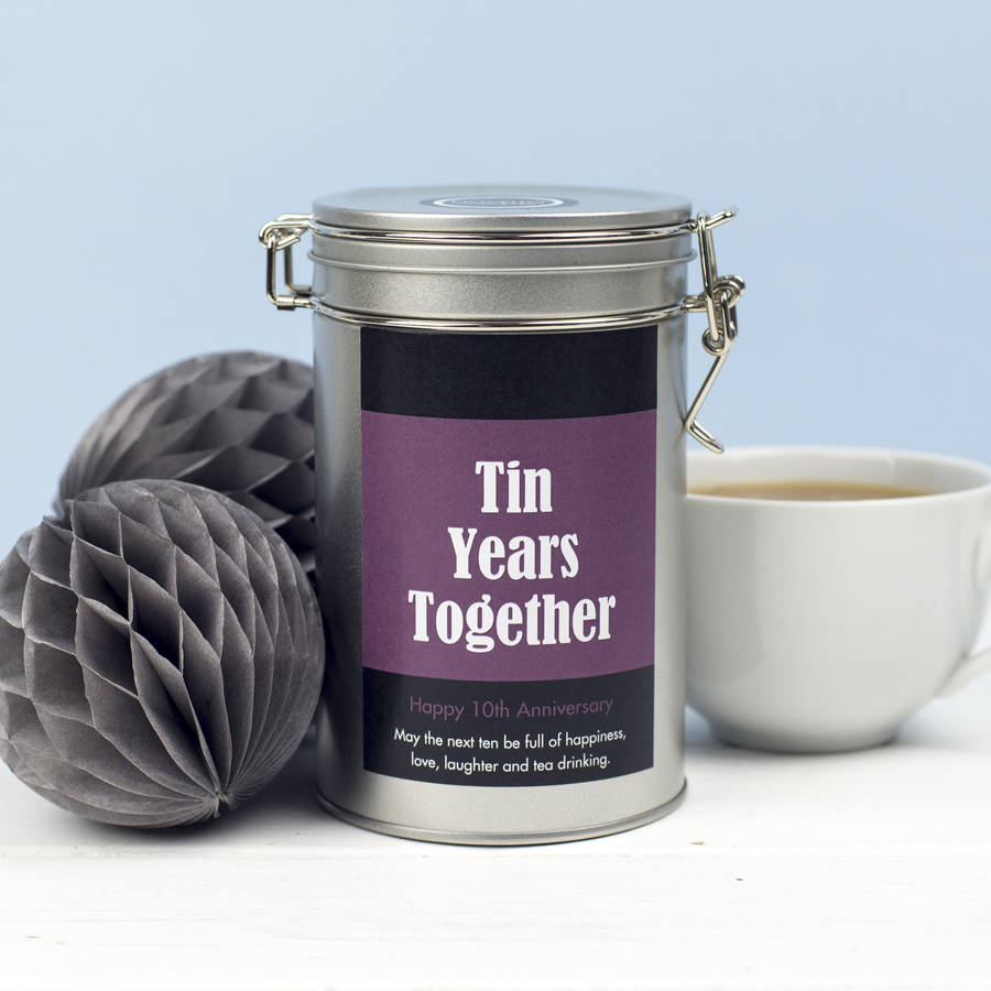 Tin Gifts For 10th Wedding Anniversary: Personalised 10th Anniversary Tea Gift In Tin By Novello