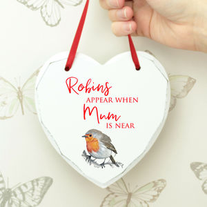 Personalised Robin Remembrance Wooden Hanging Heart