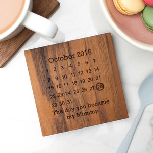 Personalised Wooden Gift Never Forget Coaster - 5th anniversary: wood