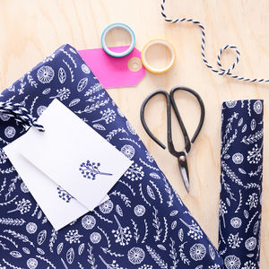 Luxury Flower Print Wrapping Paper And Gift Tag Set - summer sale