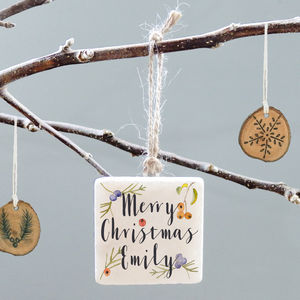 Personalised Christmas Berries Decoration - tree decorations