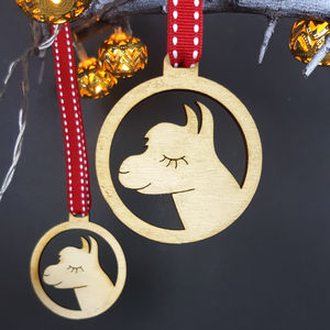 Alpaca Christmas Tree Bauble Set Of Four