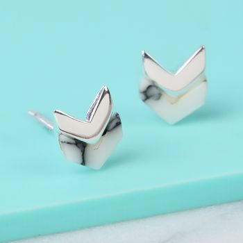 Sterling Silver And Marble Stud Earrings