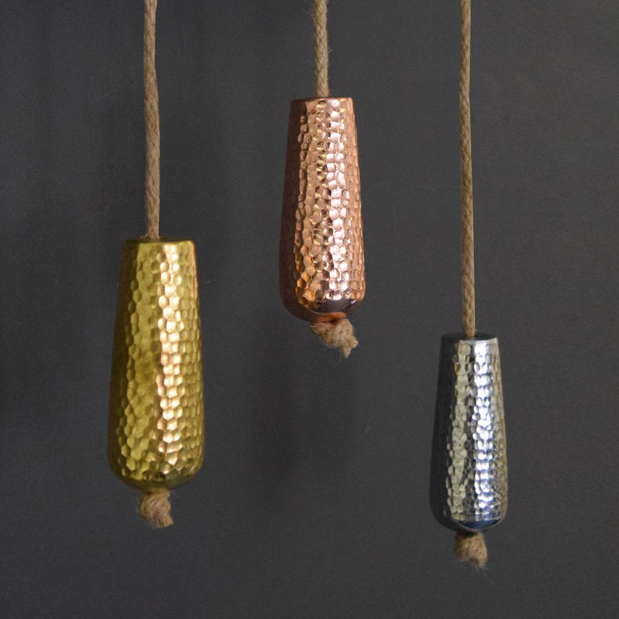 Metallic Copper Gold And Silver Bathroom Light Pull By