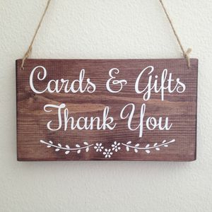 Cards And Gifts Handmade Wooden Wedding Sign - outdoor decorations