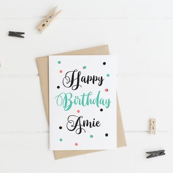 Personalised Happy Birthday Calligraphy Greeting Card