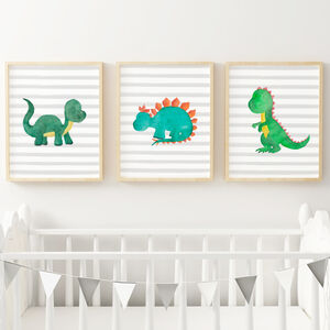 Dinosaurs Art Prints Set For Dinosaur Themed Nursery