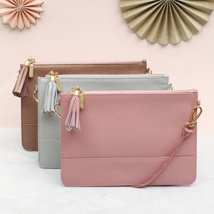 Personalised Pastel Leather Clutch Or Shoulder Bag - bags