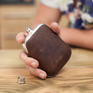 Steel Hip Flask With Personalised Leather Sleeve