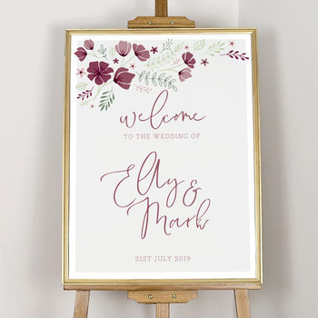 Personalised Marsala Floral Welcome Sign