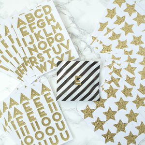 10 Gold Glitter Sticker Sheets