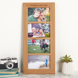 Solid Oak Personalised Multi Photo Frame Four Aperture - picture frames
