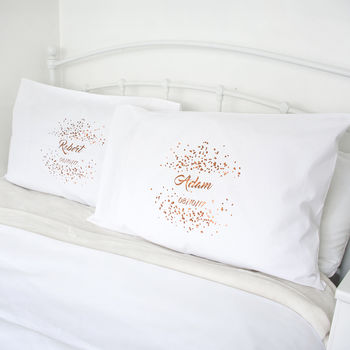 Personalised Wedding Confetti Pillow Cases Set
