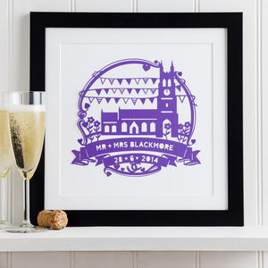 Church Wedding Anniversary Paper Cut Art