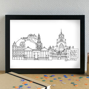 Edinburgh Landmarks Skyline Art Print - maps & locations