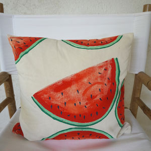 Hand Painted Watermelon Cushion - patterned cushions