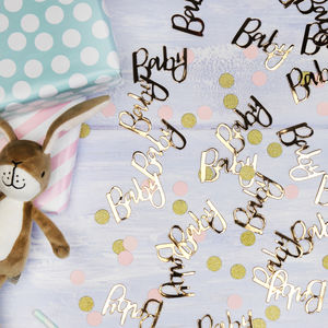 Baby Shower Gold Baby Table Confetti