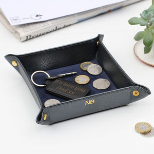 Personalised Italian Leather Coin Tray