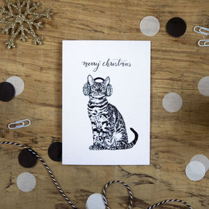 Kitten In Earmuffs Christmas Card - new in christmas