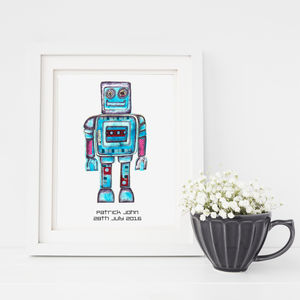 Personalised Friendly Robot Fine Art Print