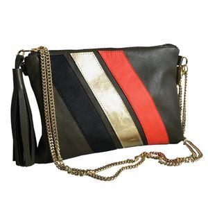 Leather Striped Bag - womens