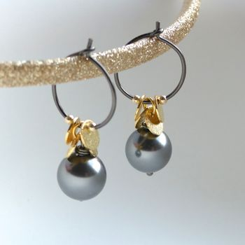 Swarovski Glass Pearl And Brushed Disc Earrings