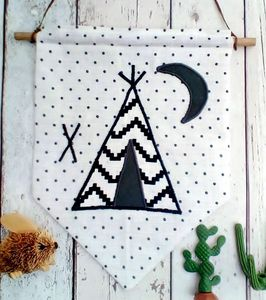 Monochrome Teepee Wall Hanging - mixed media & collage