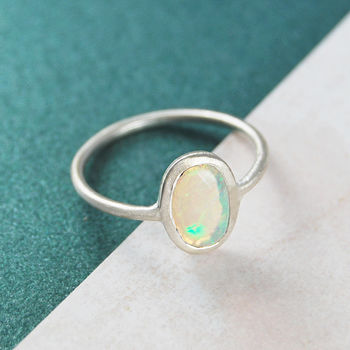 Ethiopian Opal Birthstone Jewellery Gift Silver Ring