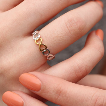 Sterling Silver And 18ct Gold Infinity Heart Ring