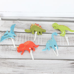 Fun Colourful Dinosaur Wall Hooks, Childrens Room
