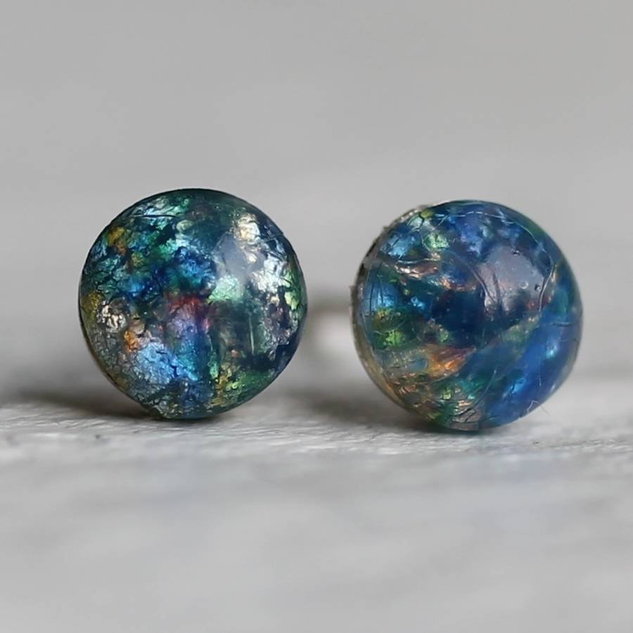 Peacock Opal Stud Earrings By Silk Purse Sow S Ear