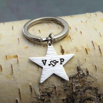 Personalised Carved Heart Silver Star Keyring