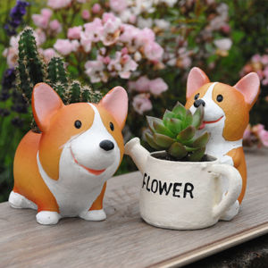 Corgi Dog Planter With A Succulent Or Cactus - flowers & plants