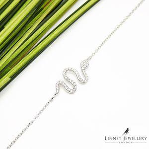 Snake Bracelet Cz Sterling Silver Rose Gold - bracelets & bangles