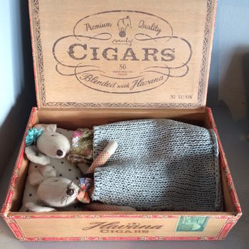 Mr And Mrs Mouse In A Cigar Box