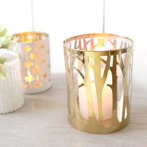 Golden Woodland Candle Holder - dining room
