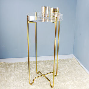 Clear Acrylic And Gold Side Table