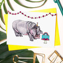 'Party Animal' Hippo Greeting Card