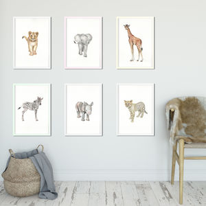 Nursery Safari Watercolour Prints - for little adventurers