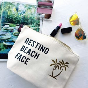 Resting Beach Face Slogan Make Up Bag - make-up & wash bags